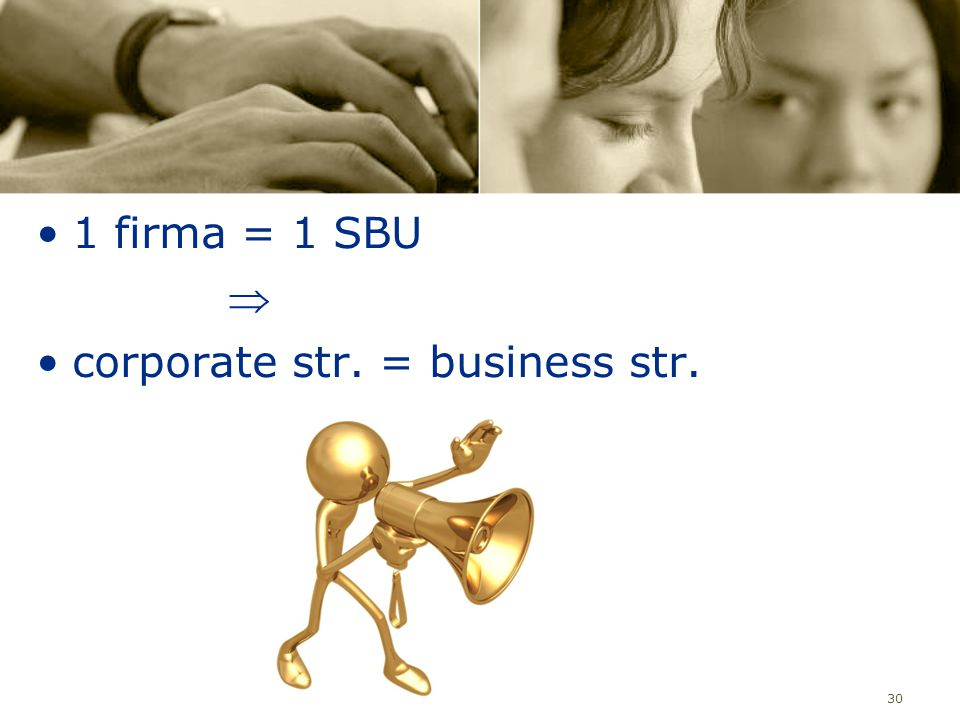 1 firma = 1 SBU  corporate str. = business str.