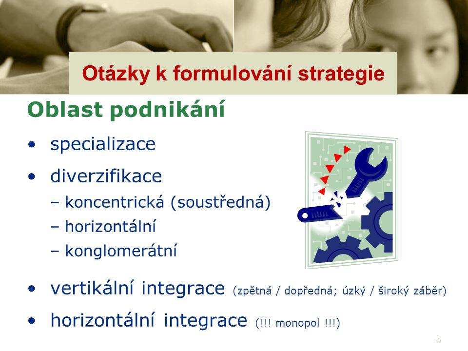 Otázky k formulování strategie