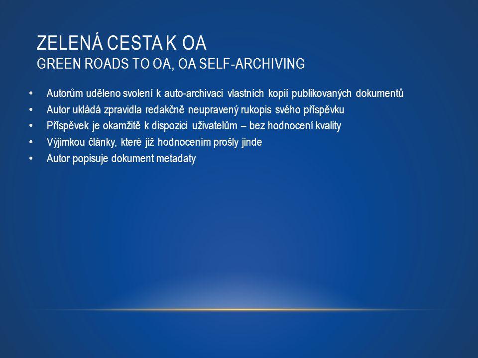 Zelená cesta k OA green roads to OA, OA self-archiving