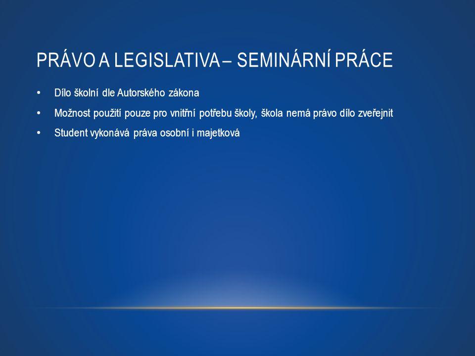 Právo a legislativa – seminární práce