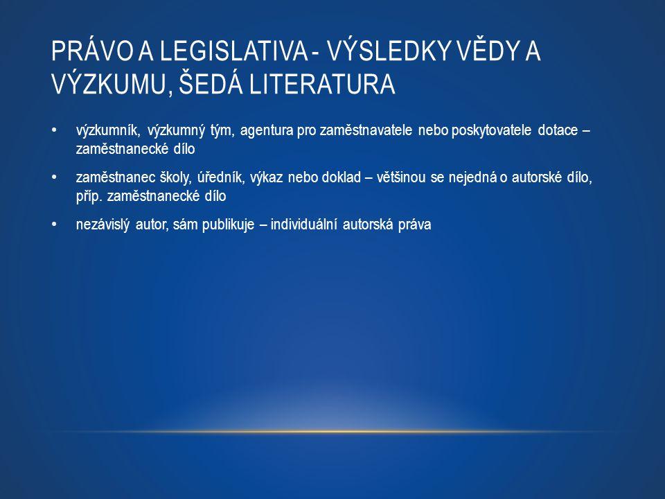 PRÁVO A LEGISLATIVA - VÝSLEDKY VĚDY A VÝZKUMU, ŠEDÁ LITERATURA
