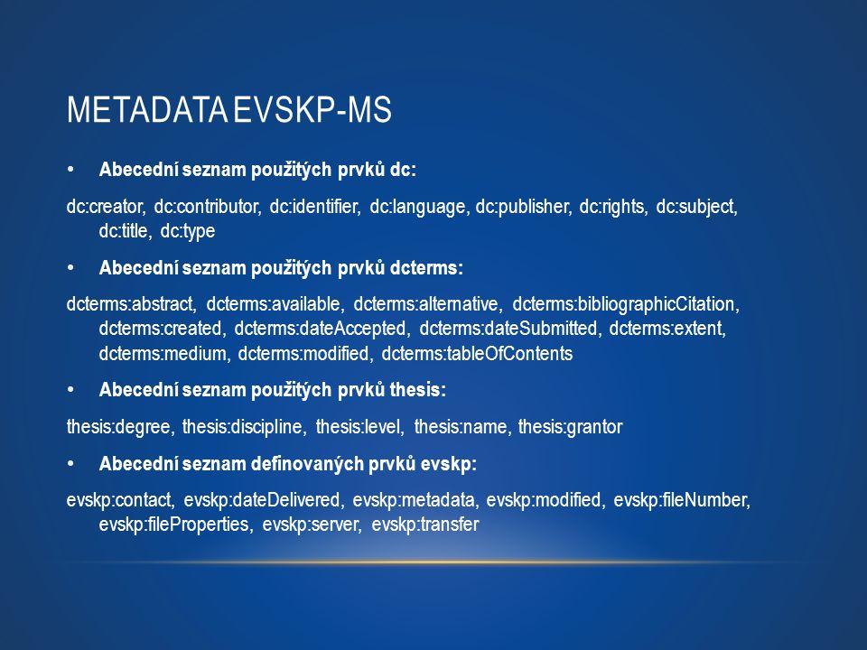 Metadata eVSKP-MS Abecední seznam použitých prvků dc: