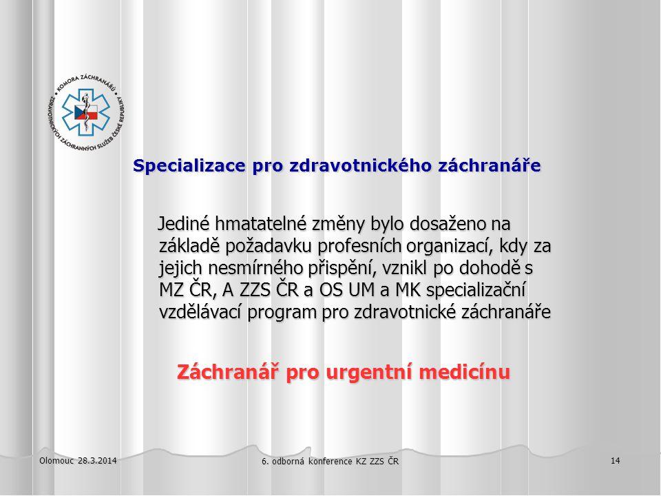 Specializace pro zdravotnického záchranáře