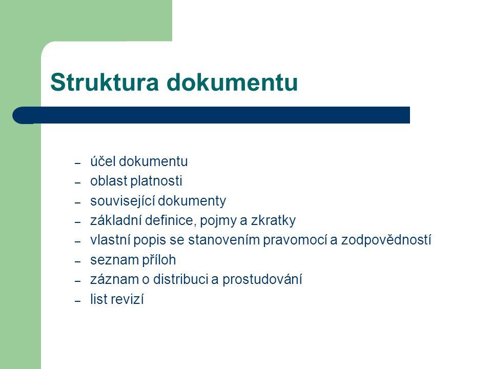 Struktura dokumentu účel dokumentu oblast platnosti