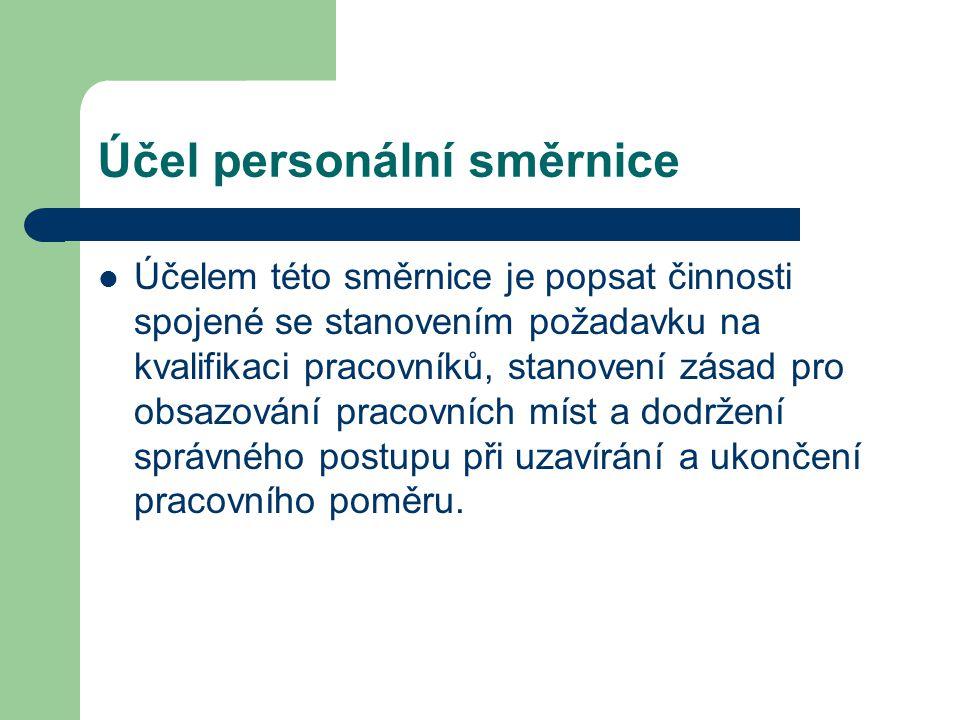 Účel personální směrnice