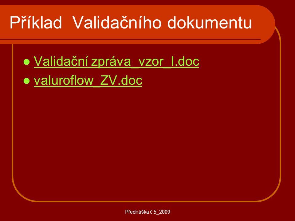 Příklad Validačního dokumentu