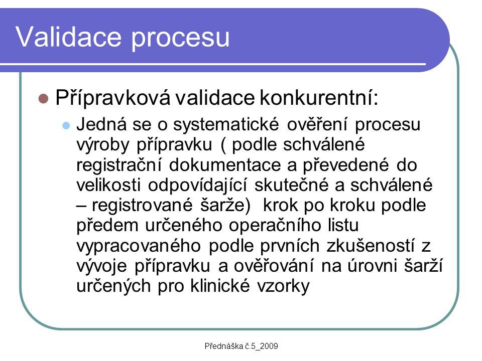 Validace procesu Přípravková validace konkurentní: