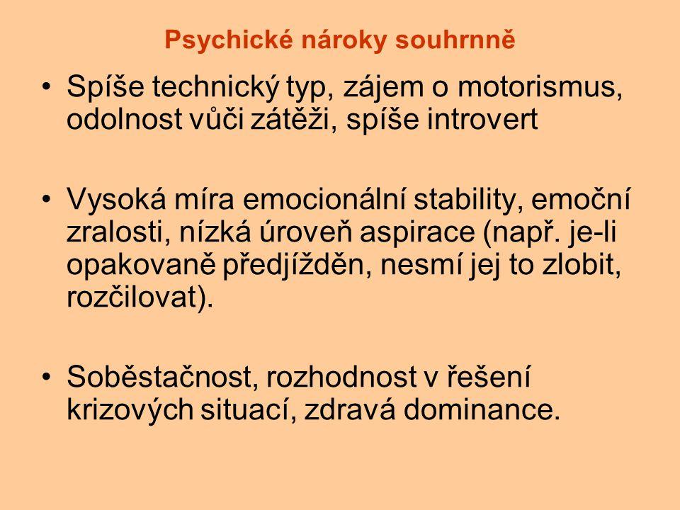 Psychické nároky souhrnně