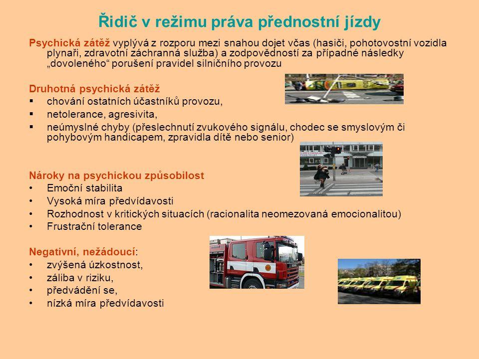 Řidič v režimu práva přednostní jízdy