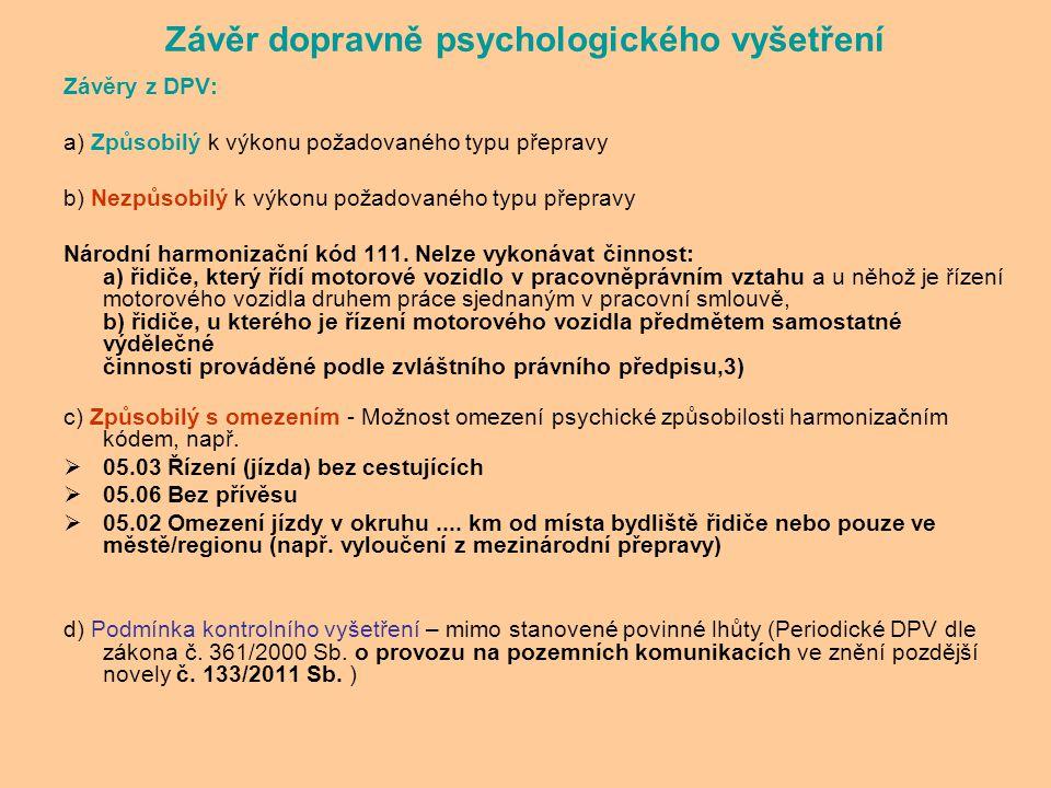 Závěr dopravně psychologického vyšetření