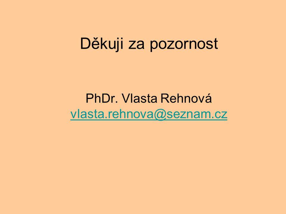 Děkuji za pozornost PhDr. Vlasta Rehnová vlasta.rehnova@seznam.cz