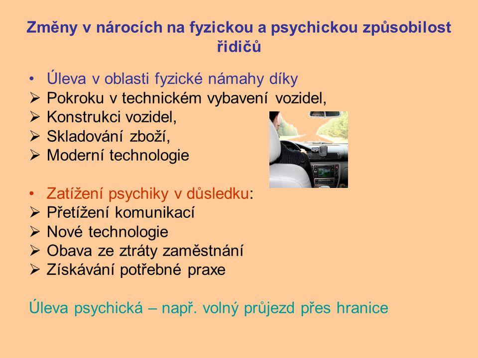 Změny v nárocích na fyzickou a psychickou způsobilost řidičů