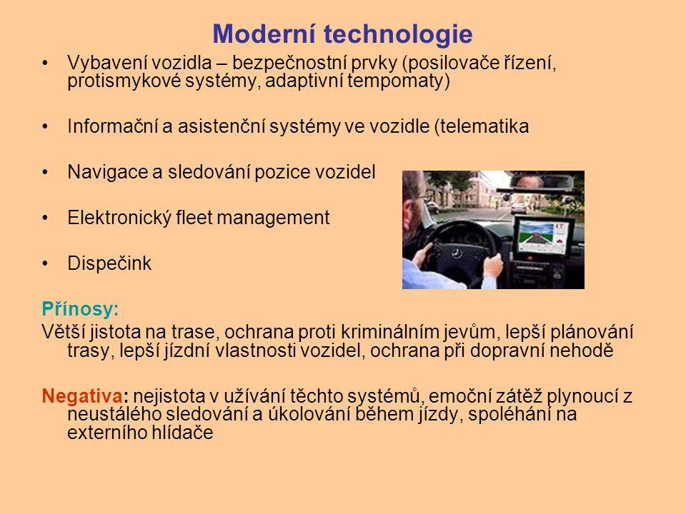 Moderní technologie Vybavení vozidla – bezpečnostní prvky (posilovače řízení, protismykové systémy, adaptivní tempomaty)