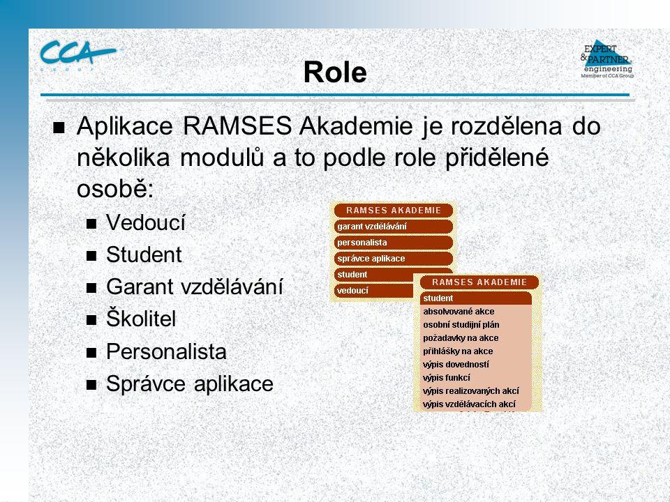 Role Aplikace RAMSES Akademie je rozdělena do několika modulů a to podle role přidělené osobě: Vedoucí.