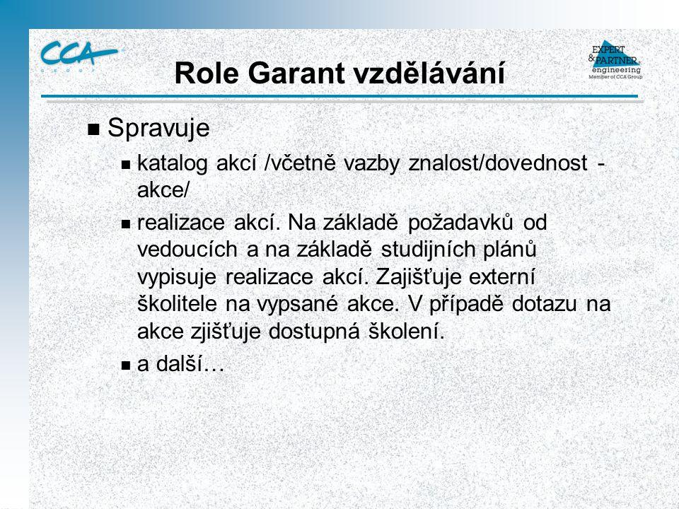 Role Garant vzdělávání