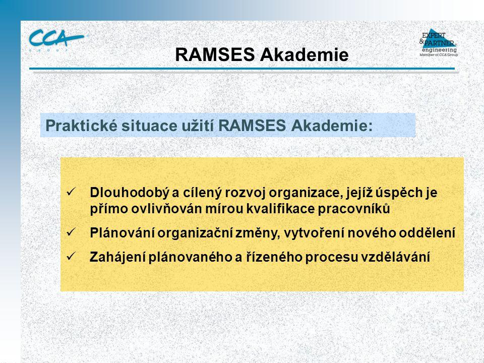 RAMSES Akademie Praktické situace užití RAMSES Akademie: