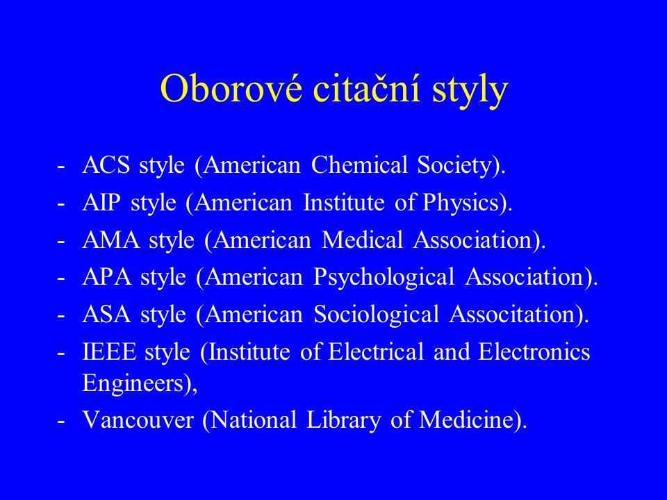 Oborové citační styly ACS style (American Chemical Society).