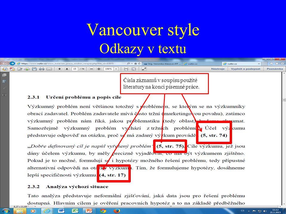 Vancouver style Odkazy v textu