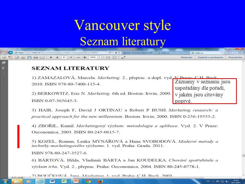 Vancouver style Seznam literatury