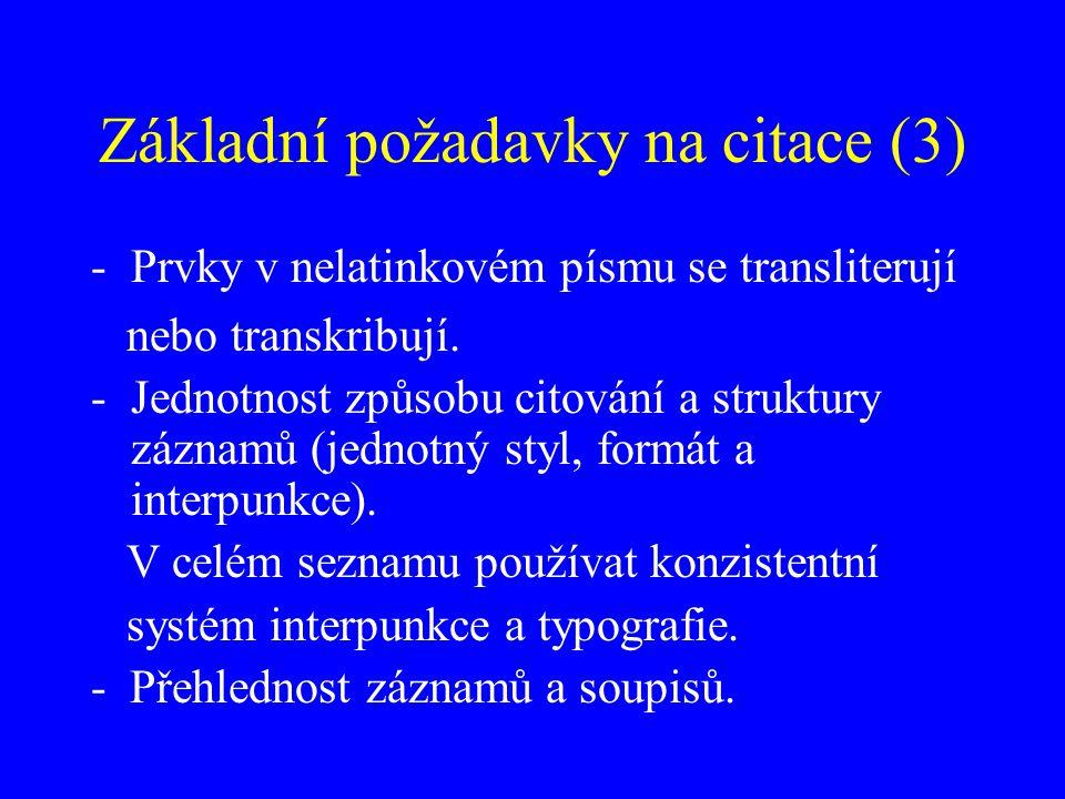 Základní požadavky na citace (3)