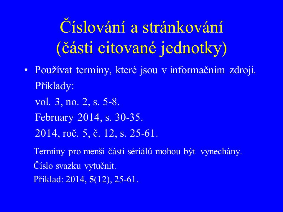 Číslování a stránkování (části citované jednotky)