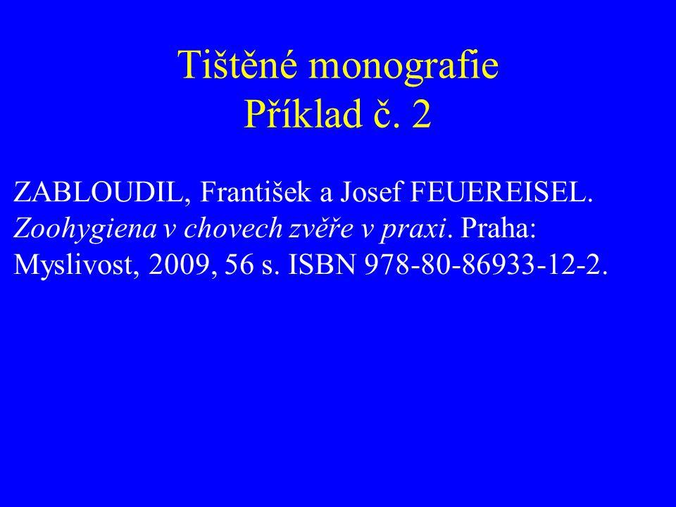 Tištěné monografie Příklad č. 2