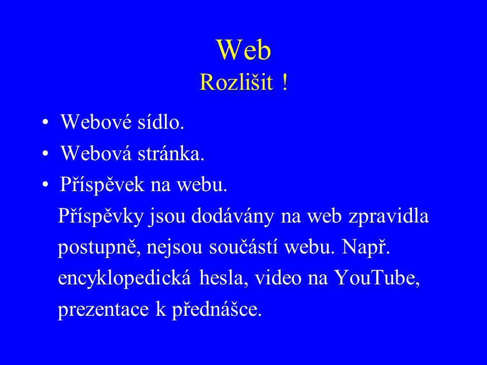 Web Rozlišit ! Webové sídlo. Webová stránka. Příspěvek na webu.
