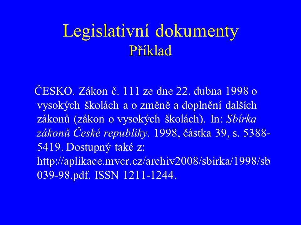 Legislativní dokumenty Příklad