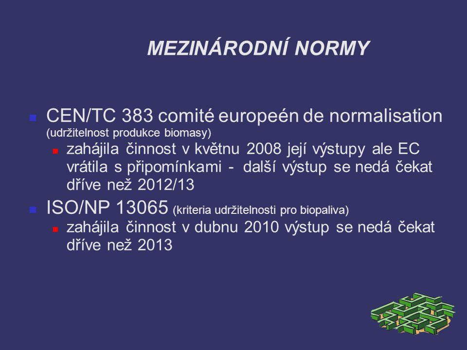 MEZINÁRODNÍ NORMY CEN/TC 383 comité europeén de normalisation (udržitelnost produkce biomasy)