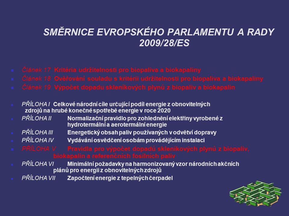 SMĚRNICE EVROPSKÉHO PARLAMENTU A RADY 2009/28/ES