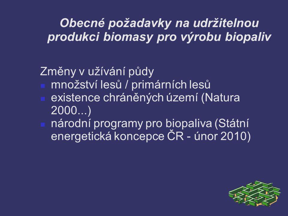 Obecné požadavky na udržitelnou produkci biomasy pro výrobu biopaliv