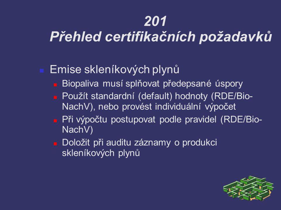 201 Přehled certifikačních požadavků