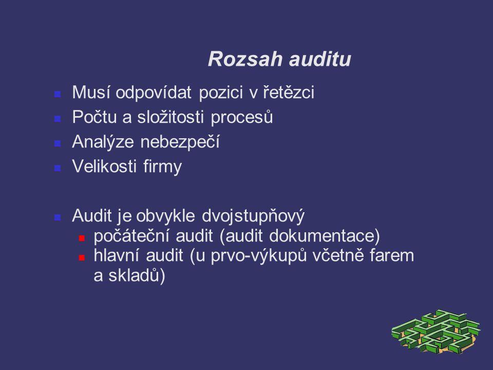Rozsah auditu Musí odpovídat pozici v řetězci