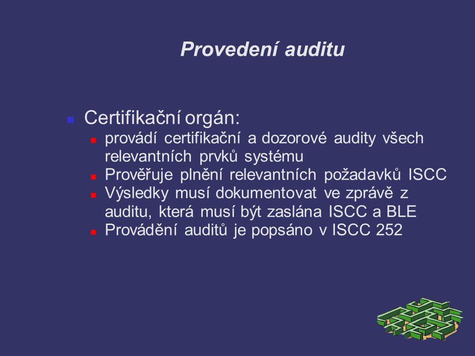 Provedení auditu Certifikační orgán: