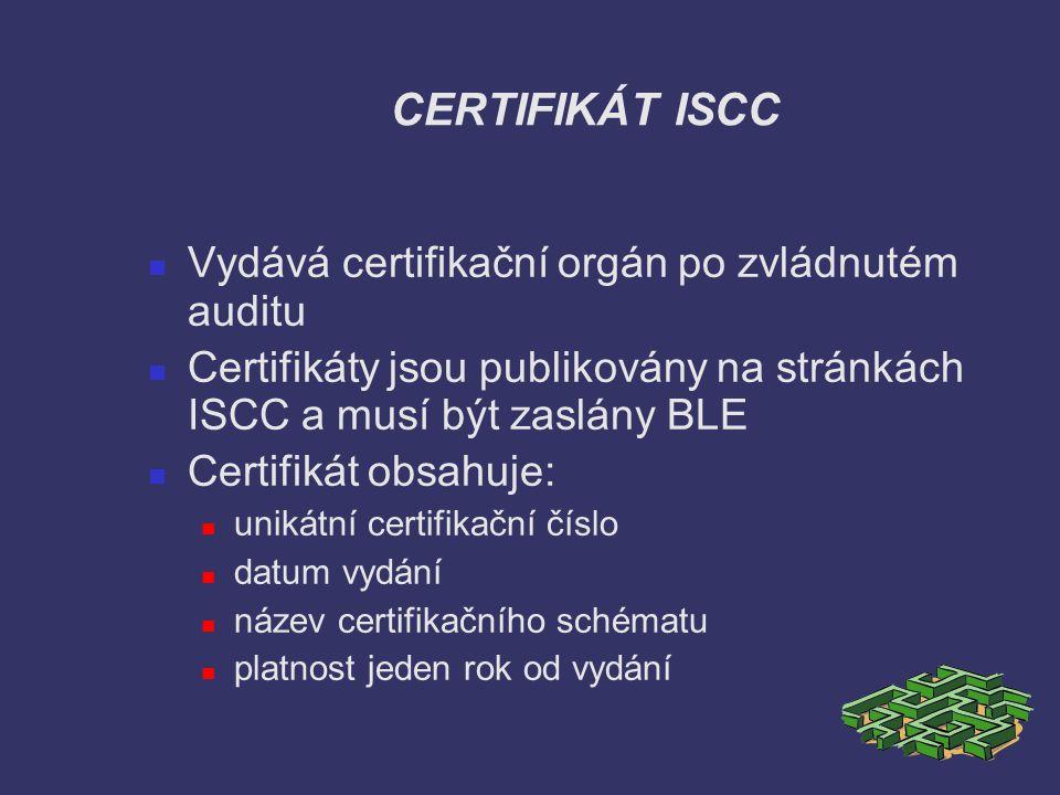 CERTIFIKÁT ISCC Vydává certifikační orgán po zvládnutém auditu
