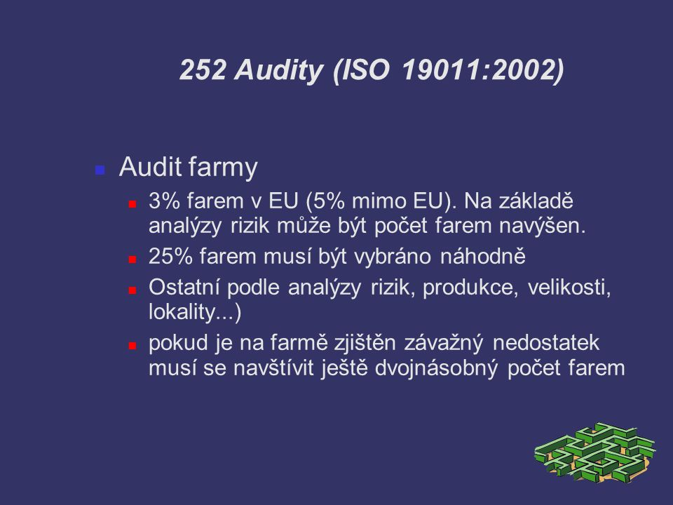 252 Audity (ISO 19011:2002) Audit farmy