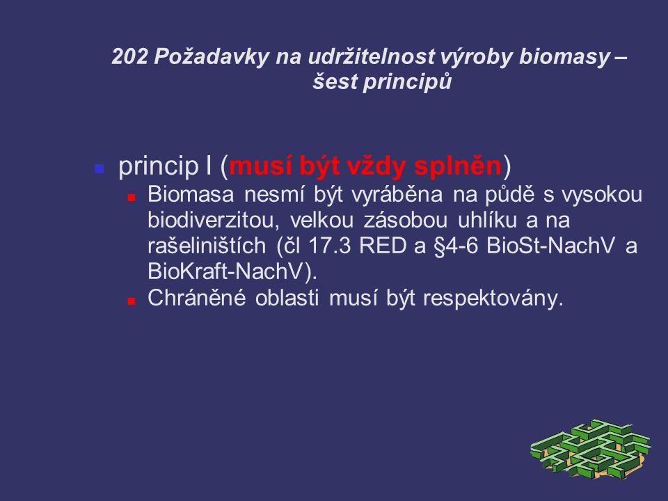 202 Požadavky na udržitelnost výroby biomasy – šest principů