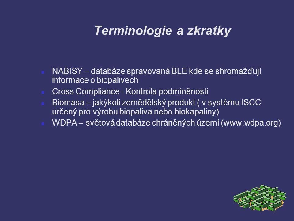 Terminologie a zkratky
