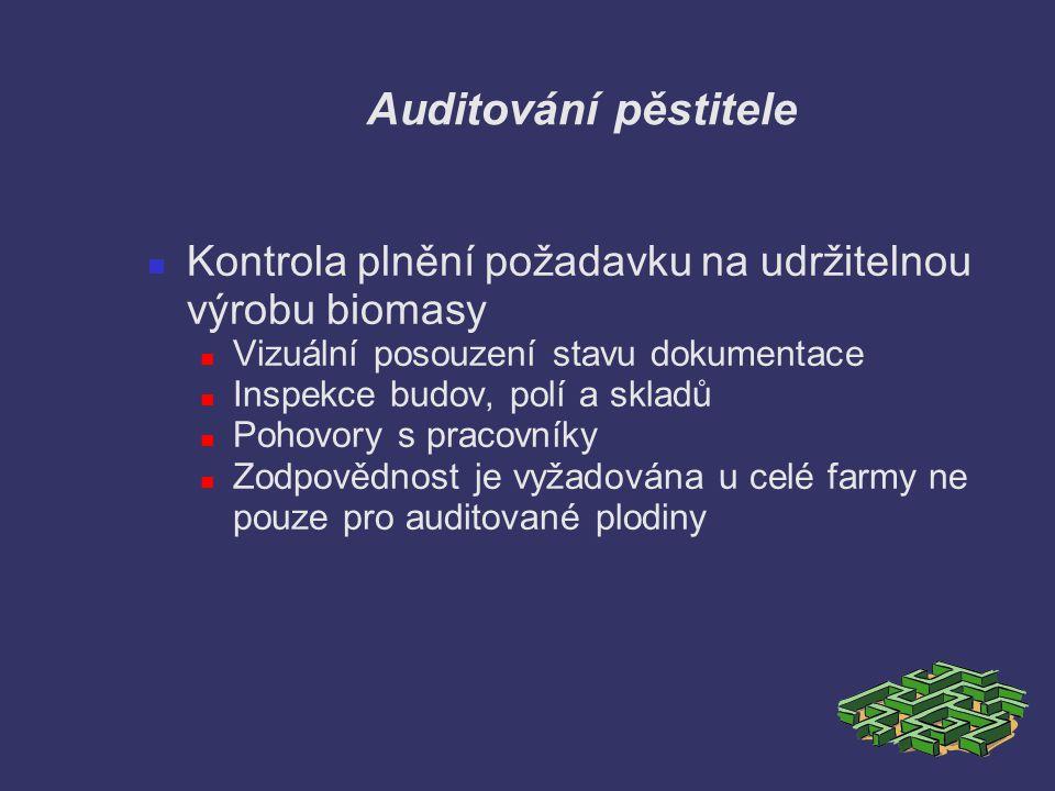 Auditování pěstitele Kontrola plnění požadavku na udržitelnou výrobu biomasy. Vizuální posouzení stavu dokumentace.