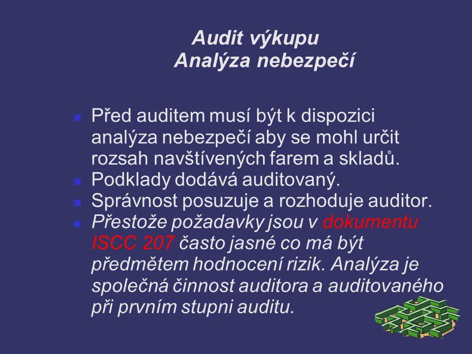 Audit výkupu Analýza nebezpečí