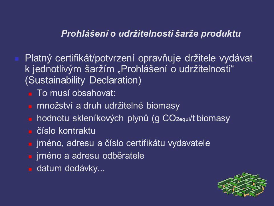 Prohlášení o udržitelnosti šarže produktu