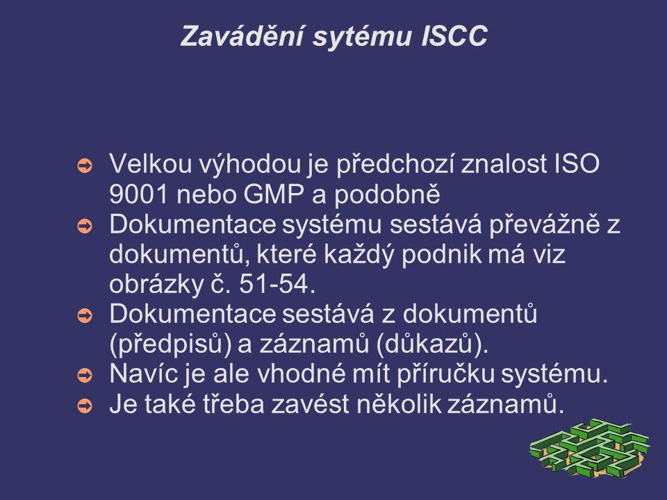 Zavádění sytému ISCC Velkou výhodou je předchozí znalost ISO 9001 nebo GMP a podobně.