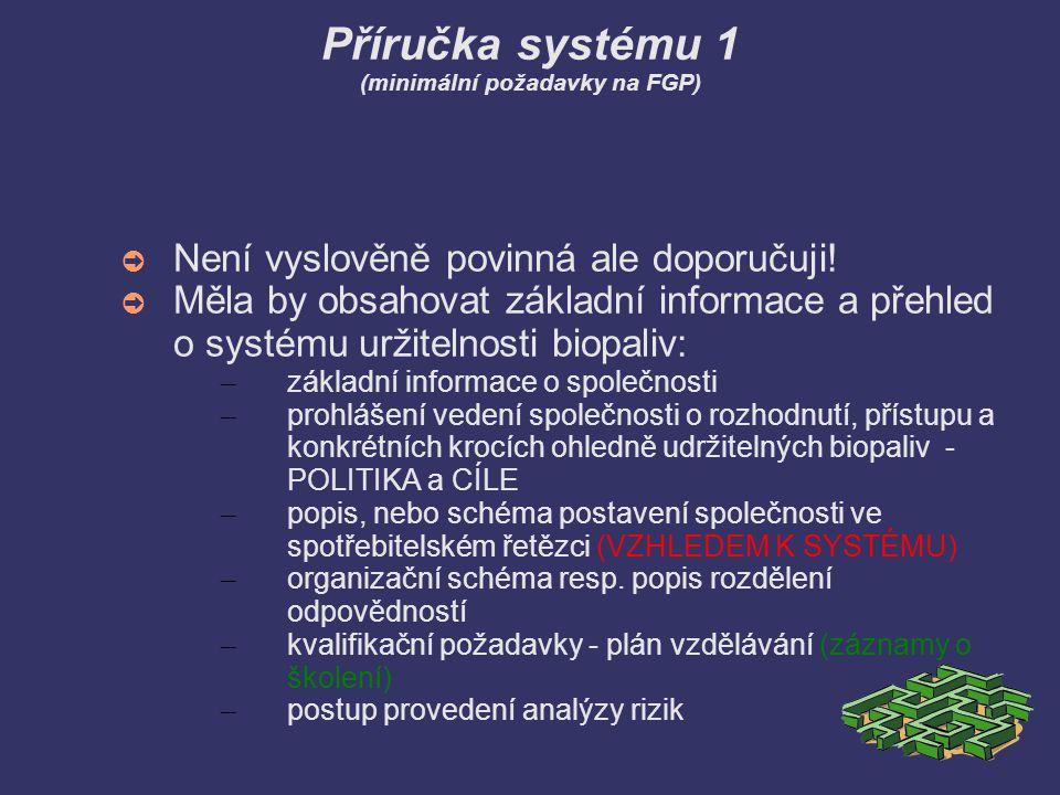 Příručka systému 1 (minimální požadavky na FGP)
