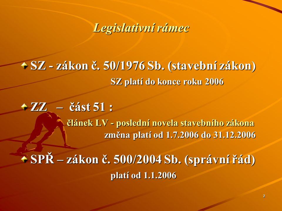 SZ - zákon č. 50/1976 Sb. (stavební zákon) SZ platí do konce roku 2006