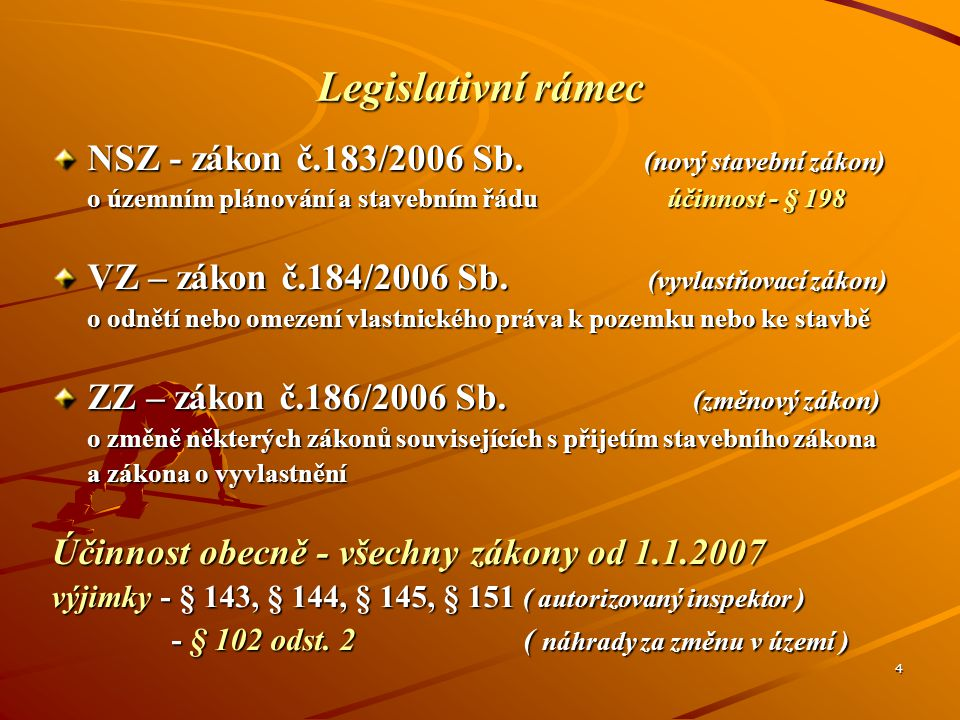 Legislativní rámec NSZ - zákon č.183/2006 Sb. (nový stavební zákon)