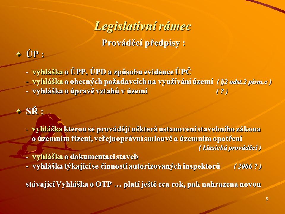 Legislativní rámec Prováděcí předpisy : ÚP : SŘ :