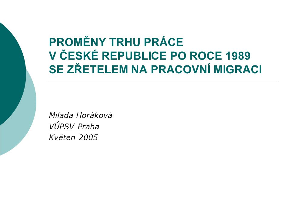 Milada Horáková VÚPSV Praha Květen 2005