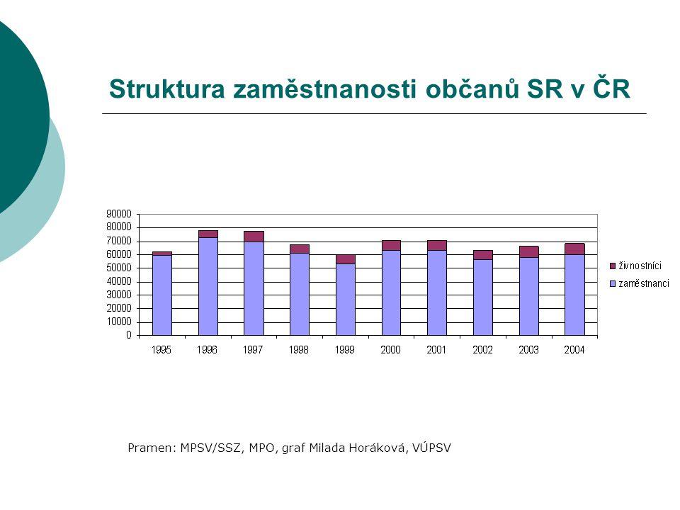 Struktura zaměstnanosti občanů SR v ČR