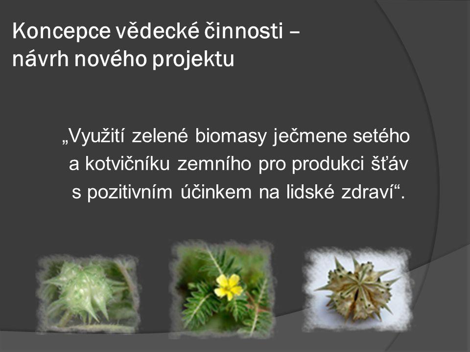 Koncepce vědecké činnosti – návrh nového projektu