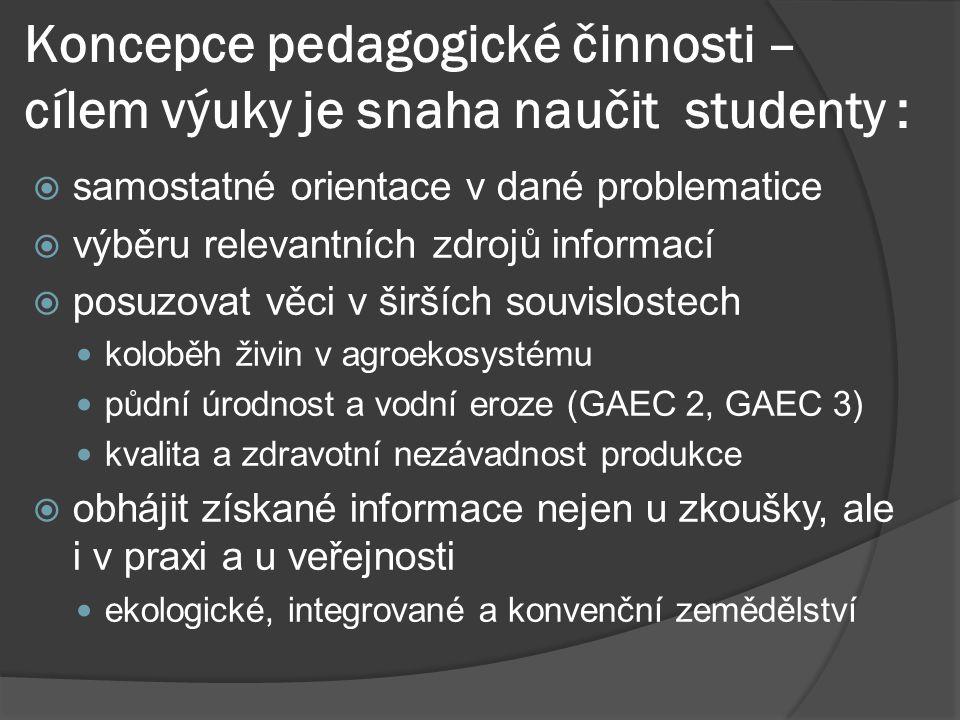 Koncepce pedagogické činnosti – cílem výuky je snaha naučit studenty :